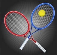 Tennis Blue and Red Opposed Rackets with yellow ball shinning