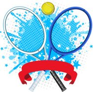 Tennis racket splash with ball and red banner