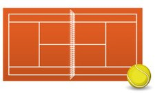 Clay tennis court field brick dust stadium with Ball