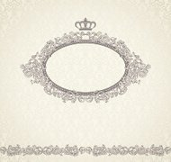 Seamless background with scroll and crown frame