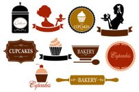 Retro Cupcake and Bakery Labels