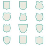 Blank Striped Shield Shapes