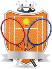 Sport Tennis Field with racket and ball crowned Emblem