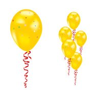 Balloons with stars and ribbons.