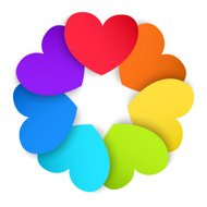Circle of colored paper hearts