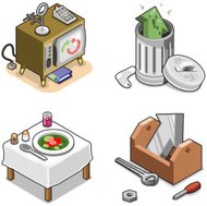 Set of various arrows in everyday items (isometric vector)