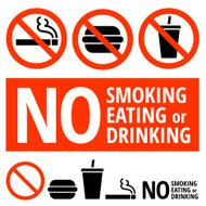 No Eating, Smoking, or Drinking Sign on Buttons and Banners
