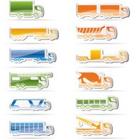 different types of trucks and lorries icons