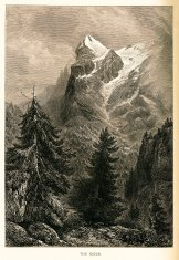 The Eiger, Switzerland (antique wood engraving)