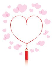 Red Pencil Drawing Heart Shape and Pink Border