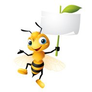 Cartoon graphics of Bee holding Sign