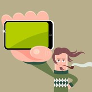 Pipe smoking sweater wearing character with mobile phone