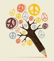 Peace and love concept tree