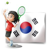 Tennis player in front of the South Korean flag