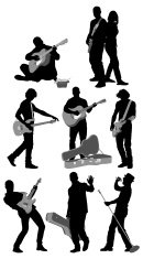 Multiple silhouettes of musicians