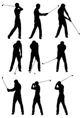 Multiple silhouettes of a golfer playing