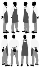 Multiple silhouettes of a waiter posing
