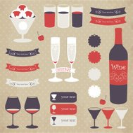 Decorative icon set of bar menu elements.