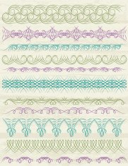 floral decorative borders, ornamental rules, dividers