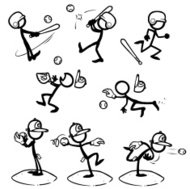 Stick Figure People Baseball / Softball