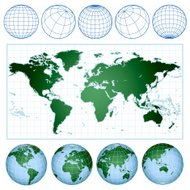 world map with wireframe globes