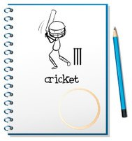 Notebook with sketch of man playing cricket