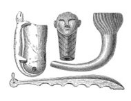 Native American artefacts (antique wood engraving)