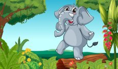 Elephant playing in the woods