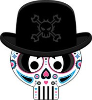 Mexican Day of the Dead Skull in Bowler Hat