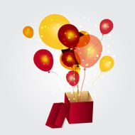 gift box with balloons vector illustration