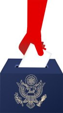 American Vote Ballot Box with human hand