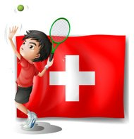 Tennis player in front of the Switzerland flag