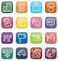 Glossy travel and tourism icon set
