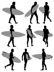 Multiple silhouettes of surfers with surfboard
