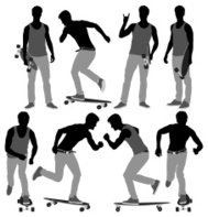 Multiple image of a man with long board