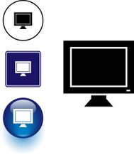 computer monitor symbol sign and button