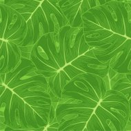 seamless background. Green leaves with a monster outline.