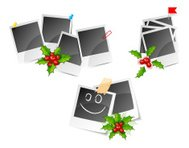 Christmas photo frame set with holly