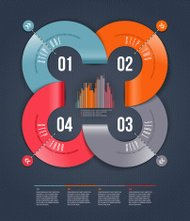 Abstract infographics design with numbered paper elements.