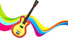 abstract colorful wave with guitar