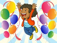 Cheerful man with balloons