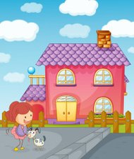 Girl puppy and house