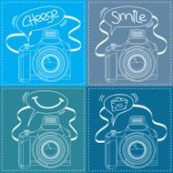Digital SLR Camera Outline with Speech bubble