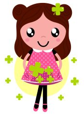 Cute little spring Girl with four leaf clovers