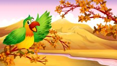 Green parrot in an autumn scenery