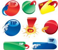 set of sale tags, banners and shapes