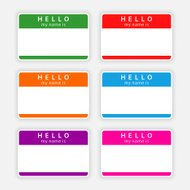 Color blank nametag hello my name is sticker tag label