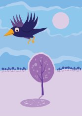 Crow flying over tree. Vector cartoon landscape.