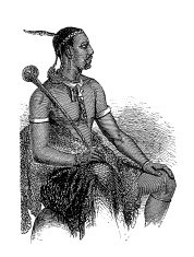 Basotho tribal chief, South Africa (antique wood engraving)