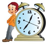 Young man leaning on giant alarm clock